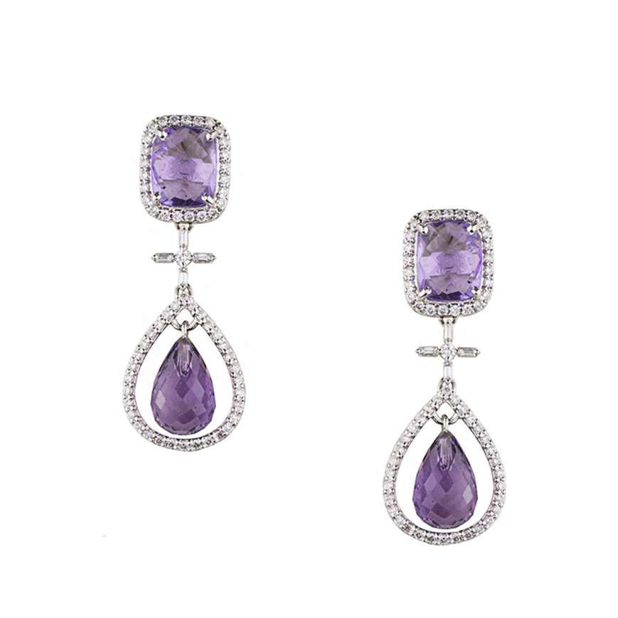 18k White Gold Amethyst & Diamond Drop Earrings